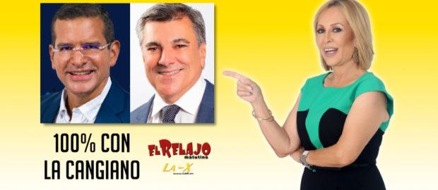 Pedro Pierluisi y Charlie Delgado con Milly Cangiano